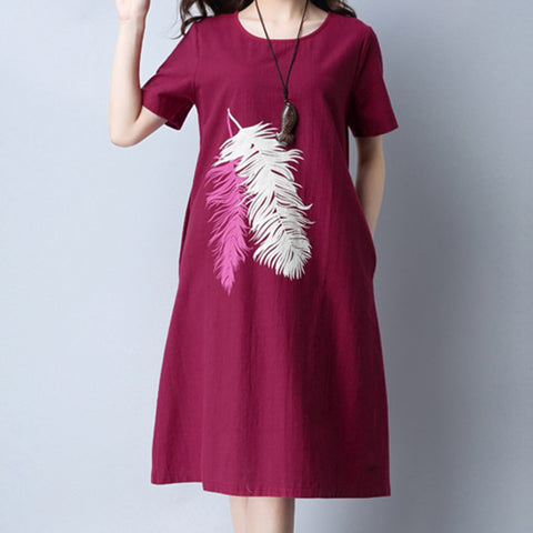 Women Fashion Dress Feather Print Round Neck Cotton Linen Loose Knee-Length Dress