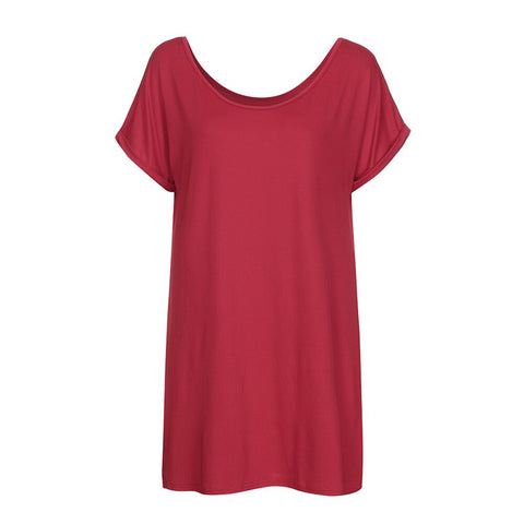 Women  Fashion Dress Casual Solid Cold Shoulder Short-Sleeve Dress Night Wear Dresses