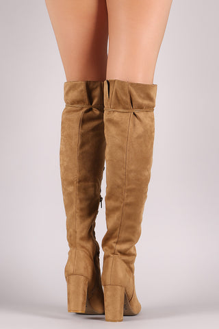 9ab0242bd6b Qupid Suede Lace-Up Chunky Heeled Boots