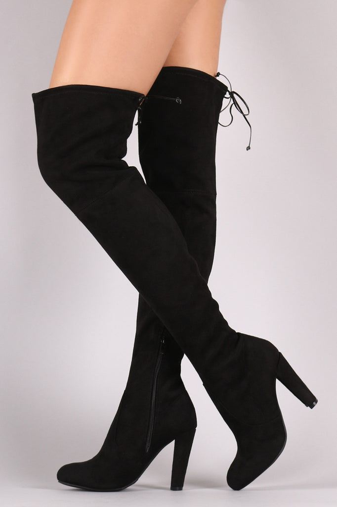 37fe0bf7050 ESSEX GLAM Women s Taupe Faux Suede Thigh High Round Heel Stretch Long Leg  Boots 5 B Lace Up Block Heel knee ...