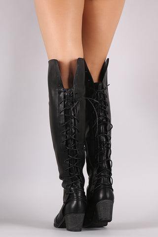 3407810a80e Vegan Leather Back Lace Up Over The Knee Boots