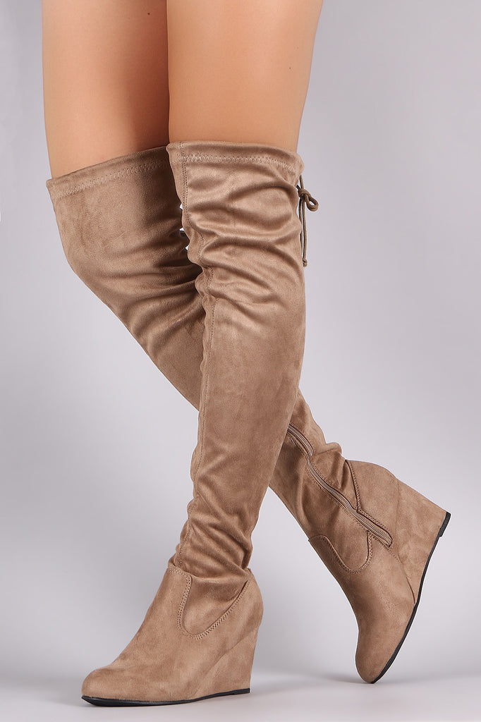 ef026567ae4 Suede Drawstring Tie Over-The-Knee Wedge Boots – My Unique Stylze