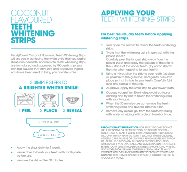 Teeth Whitening Strips Coconut Flavoured Pearlypoised