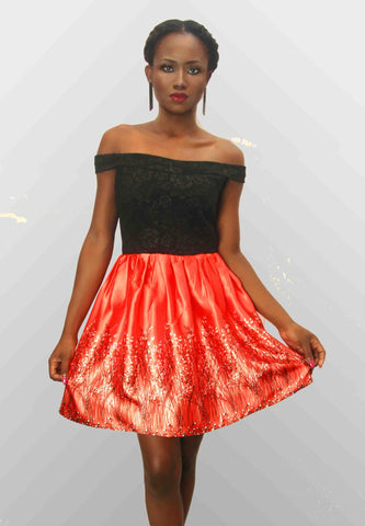 Orange Satin Dress - Emua Fashions