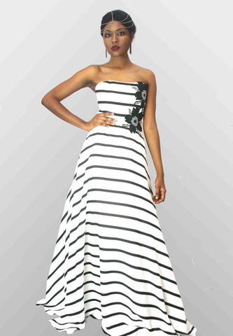 Long Stripe Dress - Emua Fashions