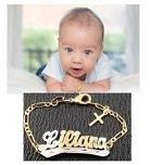 Baby (girl/boy) Personalized 14K Gold Overly Any Name ID Bracelet with Cross Baptsim Christening 5 1/2 Inch/a1