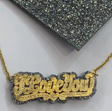 Personalized 14k Gold Overlay Double Any Name Plate Necklace Any Glitter Sparkle Color Onyx Back