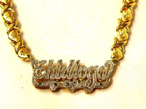 Personalized 14k Gold Overlay Double Name Necklace w/ XOXO Chain /c1/  Jewelry Woxpa  Woxpa - Jewelry - Woxpa - Jewelry