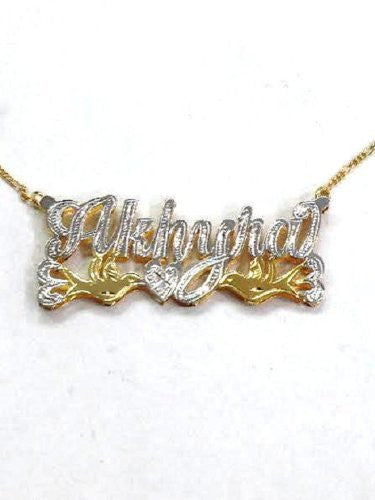 Personalized 14k Gold Overlay Double Name Necklace /c3/  Jewelry Woxpa  Woxpa - Jewelry - Woxpa - Jewelry