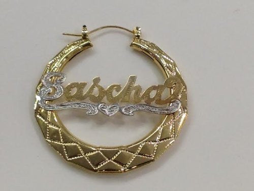 Personalized 14k Gold Overlay 2 in. Bamboo Name Earrings /e57/  Jewelry Woxpa  Woxpa - Jewelry - Woxpa - Jewelry