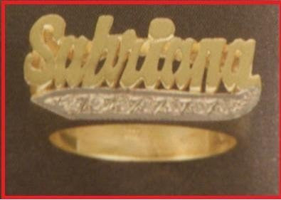 14k Gold Overlay Personalized Name Ring /a14/  Jewelry Woxpa  Woxpa - Jewelry - Woxpa - Jewelry