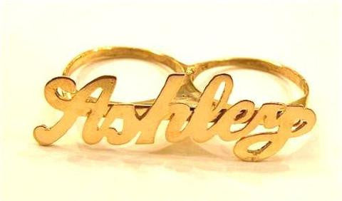14k Gold Personalized 2 Finger Name Ring /a23/  Jewelry Woxpa  Woxpa - Jewelry - Woxpa - Jewelry