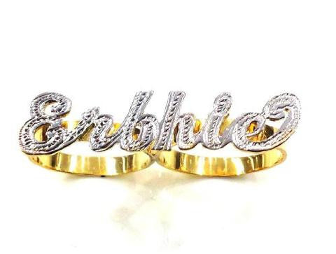 14k Gold Personalized 2 Finger Name Ring /a25/  Jewelry Woxpa  Woxpa - Jewelry - Woxpa - Jewelry