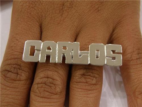 Silver Personalized 2 Finger Name Ring /a36/ - Woxpa -  - Jewelry - Woxpa