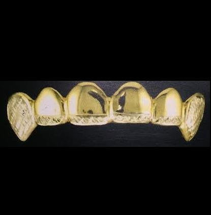 Customized 14k Gold Overlay Removable Gold Teeth / Caps / Grillz 6 Teeth /h11/  Jewelry Woxpa  Woxpa - Jewelry - Woxpa - Jewelry
