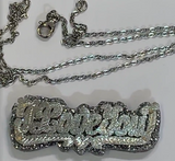 Personalized SILVER Double Any Name Plate Necklace Any Glitter Sparkle Color Onyx Back