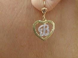 Personalized 14k Gold Plate Single Plate Dangle Heart Earrings Any Initial