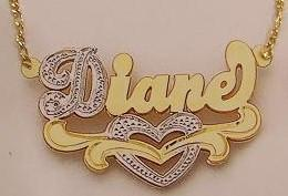 Personalized Gold Overlay Double 3d Any Name Plate Necklace Free Chain /a16