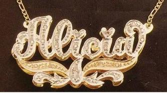 Personalized Gold Overlay Double 3d Any Name Plate Necklace Free Chain /a27