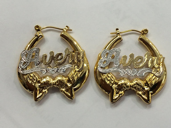 Personalized 14k Gold Overlay Gold Plate any Name Angel hoop earrings 1 1/2 inch