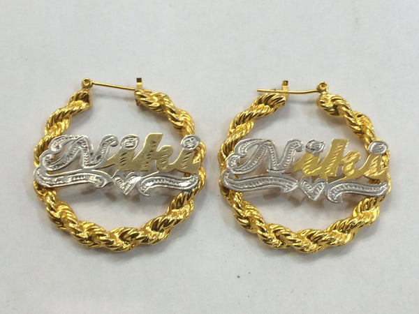 Personalized 14k Gold Overlay Any Name hoop Twisty Bamboo Earrings 1 1/2 inch