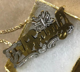 14k Gold Plate Personalized Any Name Double Plate Nameplate Butterfly Necklace with chain