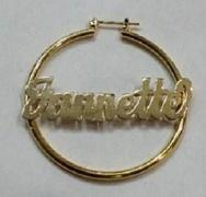Personalized 14k Gold Overlay/ Gold Plate any Name 1 inch hoop earrings/a
