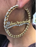 Personalized 14k Gold Overlay GP Any Name Italian CZ Stone Hoop Earrings 3 1/2 inch