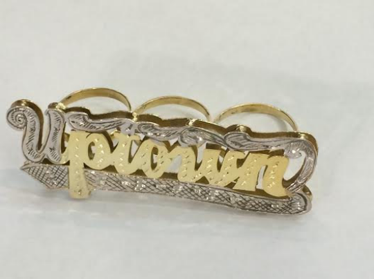 Personalized Any Name 14k Gold Plated Three Fingers Any double Name Ring/1