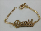 Baby girl/boy Personalized 14K Gold Overly Any Name ID Bracelet Baptsim Christening 5 1/2 Inch/a2