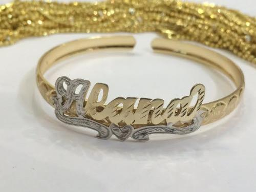Personalized  Adult 14K Gold Plate any Single Plate ADJUSTABLE Name Bracelet bangle/Gold overlay