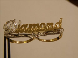 Personalized Any Name 14k Gold Plated 2 Fingers Any Single plate Name Ring/2