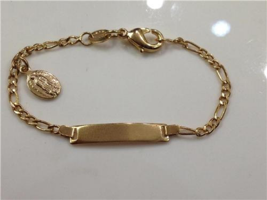 14k Gold Plate Baby ID bracelet/ No Personalized/ Christening /Baptism/ Birthday/Virgin Mary
