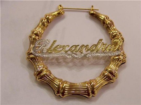 Personalized 14k Gold Overlay GP Any Name Hoop  Bamboo Earrings 1 1/2 inch