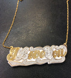 Personalized 14k Gold Overlay Double Any Name Plate Necklace Any Color Onyx Back/ILoveYou