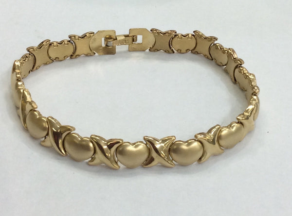 "14k Gold Plate Steel  X and Heart Bracelet 8"" /Gift/ Hugg and Kisses"