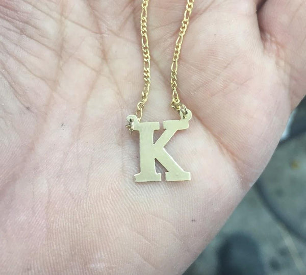 14k Gold Plate Personalized Any Initial block letter Single Plate Nameplate Necklace (comes with the Chain )