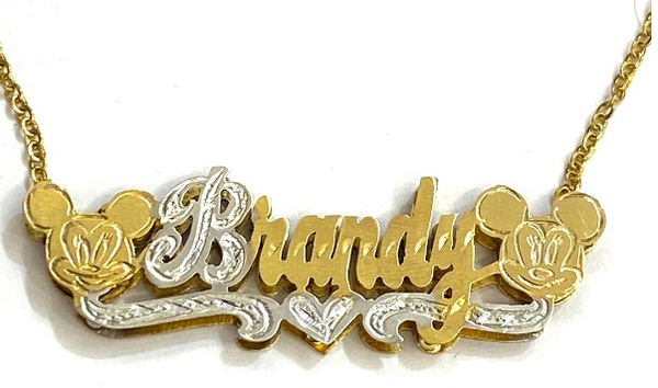 14k Gold Plate Personalized Any Name Double Plate Nameplate Mikey/Mini Mouse Necklace with chain