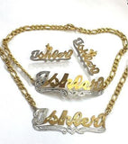 Personalized 14k Gold Plate Single plated Any Name Set Necklace Bracelet & Earrings (Thick chain)