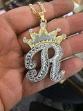 Personalized Oversize 14k Gold Overlay Any Initial Double Plate Nameplate Necklace with crown