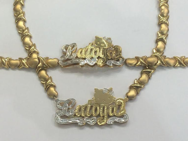 Personalized 14k 3D Gold Plate Double plated Any Name or Character X&heart Necklace & Bracelet