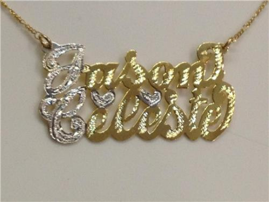 Personalized 14k Gold Plate Any 2 Names Single Plate Nameplate Necklace (comes with the Chain )