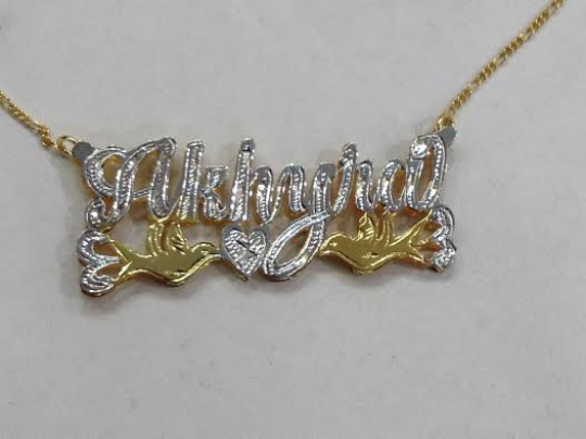Personalized 14k Gold Overlay Double 3d  Any Name Plate Necklace Free Chain /f1