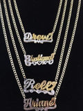 Personalized 14k Gold Overlay Double Plate 3d Any Name Plate Necklace /Free Thick Chain
