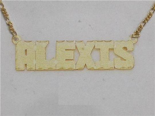 14k Gold Plate Personalized Any Block Letter Name Single Plate Nameplate Necklace (comes with the Chain )