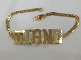 Personalized Adult 14K Gold Overly Any Block Letter Name ID Bracelet Baptsim Christening (Gold Plate)