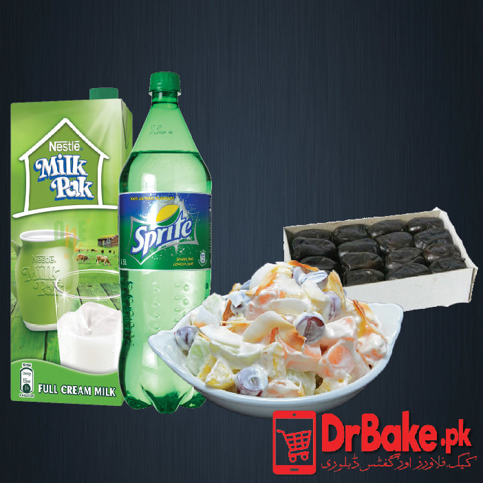 Khajoor With Doodh Soda & Fruit Chat - Dr Bake Pakistan Send gifts to Lahore, Karachi, Islamabad, Pakistan