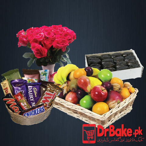 Flowers With Fruit Basket & Chocolates - Dr Bake Pakistan Send gifts to Lahore, Karachi, Islamabad, Pakistan