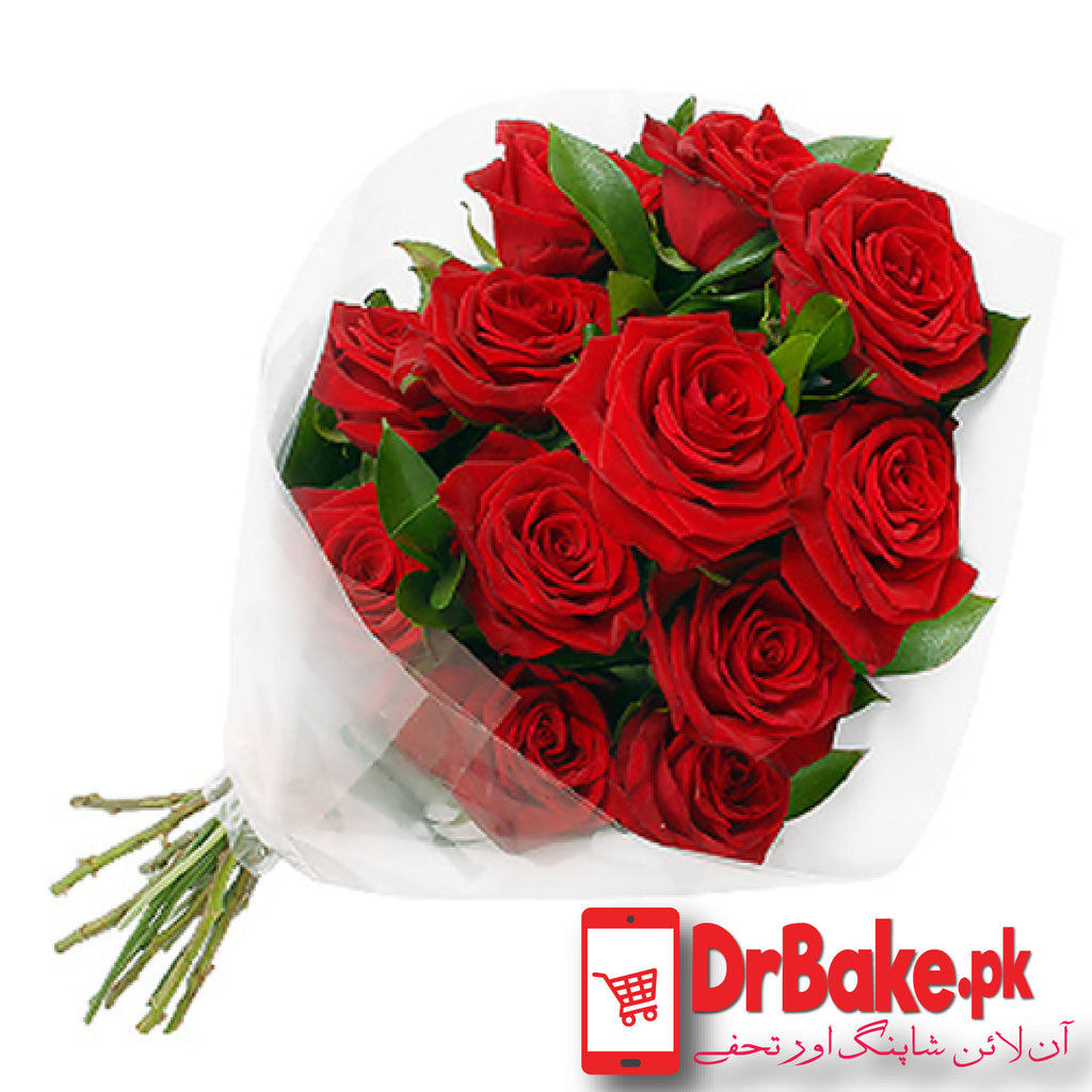 Send 12 Fresh Red Roses Stems To Pakistan | DrBake.pk