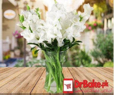12 Fresh White Glad Vase - Dr Bake Pakistan Send gifts to Lahore, Karachi, Islamabad, Pakistan